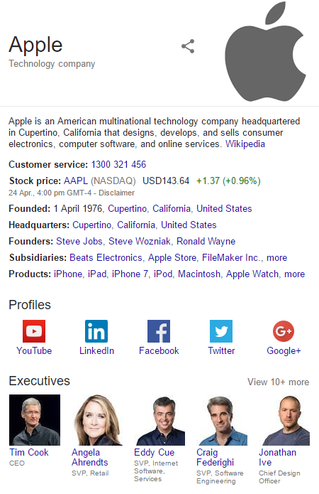 apple knowledge graph
