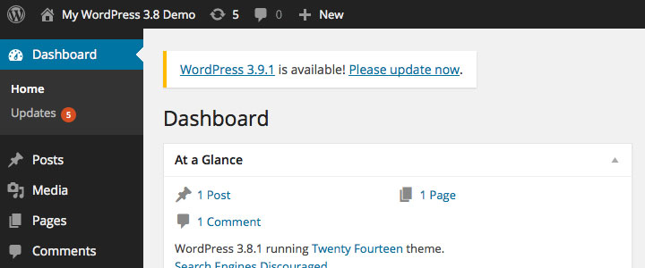 wordpress update available