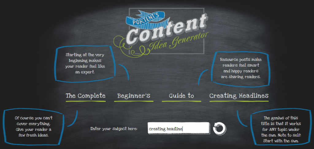 Top 10 blog post ideas generators for Portent idea