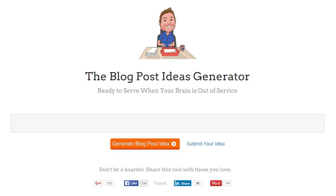 the blog post ideas generator